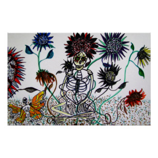 Day of the Dead with Sunflowers Poster
