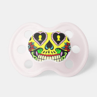 Day of the Dead Yellow Sugar Skull Infant Pacifier