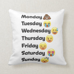 Day of the Week Emoji Face Pillow at Zazzle