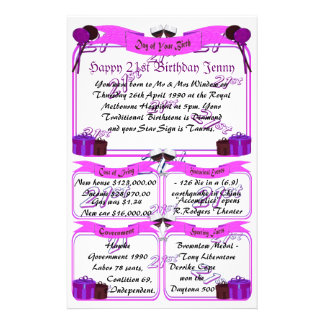 Day of Your Birth - Happy 21st Birthday Stationery Paper