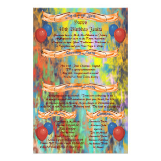 Day of Your Birth - Happy 40th Birthday Customized Stationery