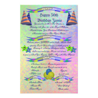 Day of Your Birth - Happy 50th Birthday Stationery Paper