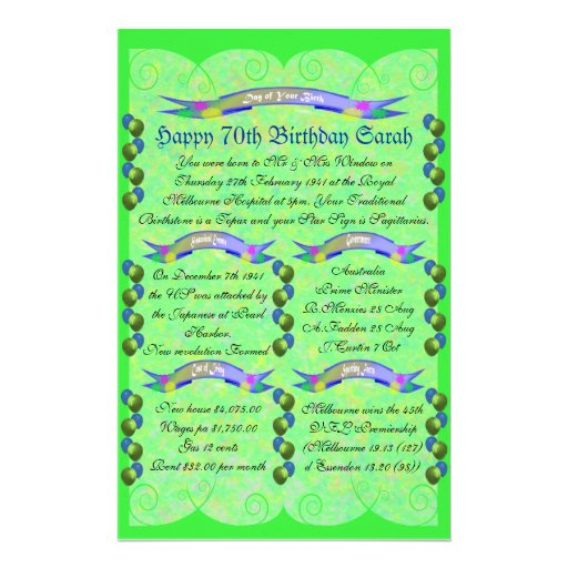 Day of Your Birth - Happy 70th Birthday Stationery Design