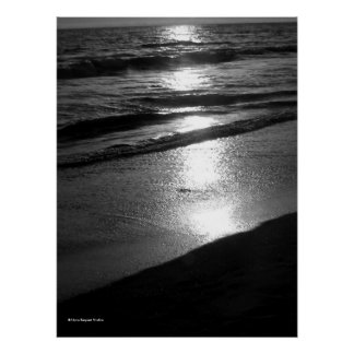 Day s End at Dog Beach Huntington CA B W Poster