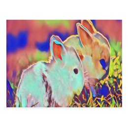 Day Time Dwarf Bunnies Postcard