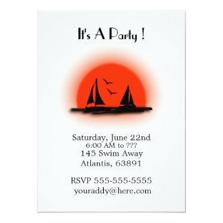 Day to Night Ocean Beach Party Invitations