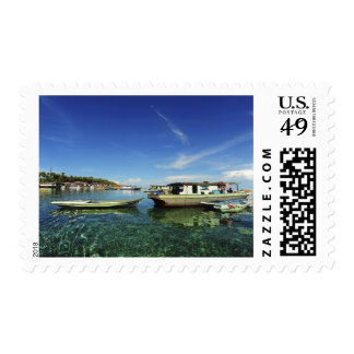 Dayak Lau living on boats and houses on stilts 2 Stamp
