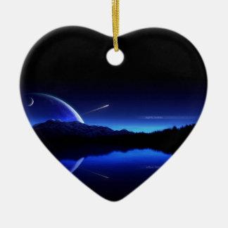 Daybreak Shooting Star Double-Sided Heart Ceramic Christmas Ornament
