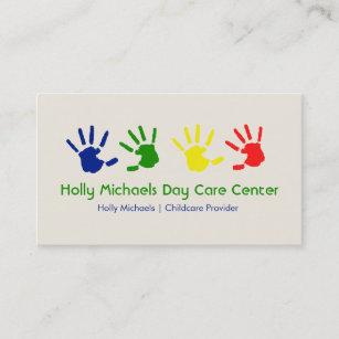 daycare babysitter handprints business cards - Daycare Business Cards