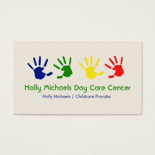 Daycare business cards templates zazzle daycare babysitter handprints business cards colourmoves Gallery