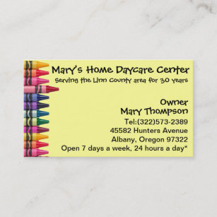 Opening hours business cards templates zazzle daycare babysitting childcare business card colourmoves