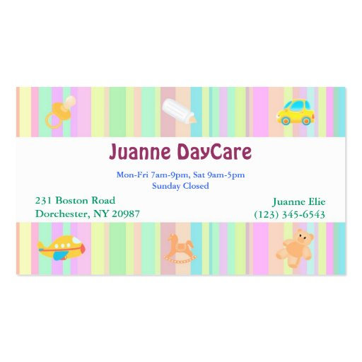 Babysitter business card templates page2 bizcardstudio daycare business card wajeb Gallery