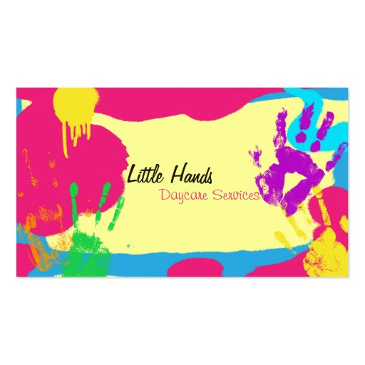 daycare business card colorful paint hand prints