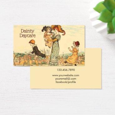 Daycare Business Vintage Nanny Babysitting Business Card