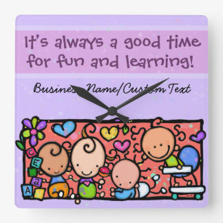 Daycare. Child care. Babies Customizable Square Wall Clocks