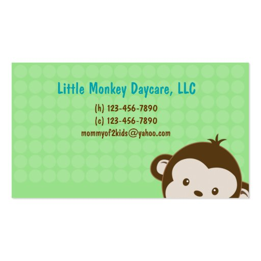 Daycare child care babysitting Mommy calling card Business Card