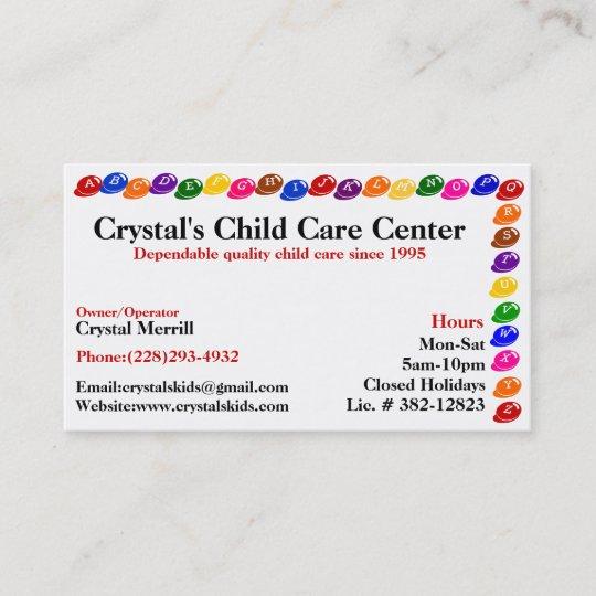 Daycare Childcare Babysitting Business Card Zazzle