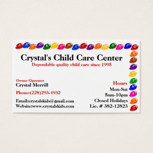 Toddler business cards templates zazzle daycare childcare babysitting business card fbccfo Image collections