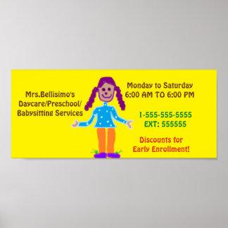 Daycare/Preschool Poster Sign. Customizable