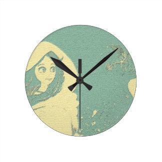 daydream girl sketch Wall Clock