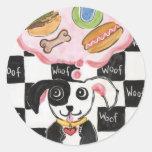 Daydreamimg del perrito etiqueta redonda