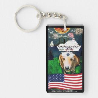 Daydreaming Dachshund Doggie Miltary Keychain