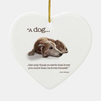 Daydreaming Dog Ceramic Ornament