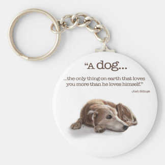Daydreaming Dog Illustration Keychain