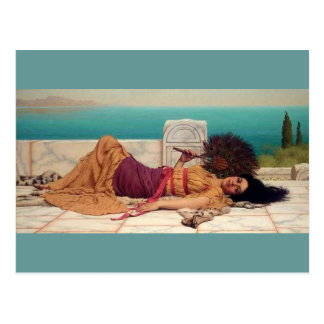 Daydreaming Greek Lady by Godward Postcard
