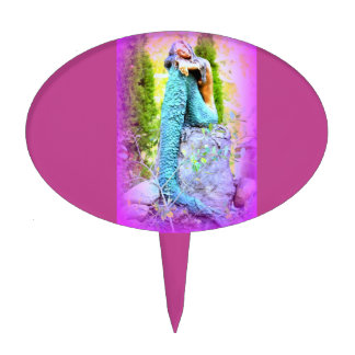 daydreaming mermaid oval cake pick