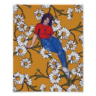 Daydreaming Spring Witch Daisy Art Poster