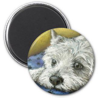 Daydreaming westie 2 inch round magnet