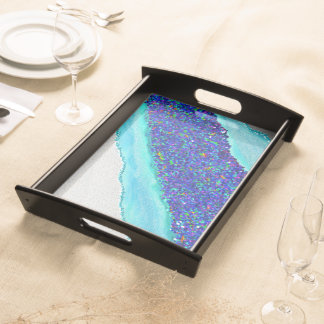 Dayenu blue Passover serving tray