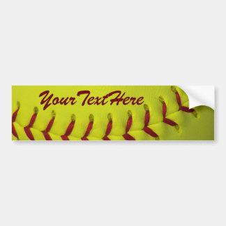 Dayglo Yellow Personalized Softball Bumper Sticker