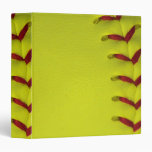 Dayglo Yellow Softball 3 Ring Binders