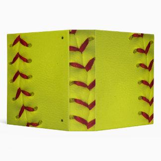 Dayglo Yellow Softball 3 Ring Binder