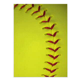Dayglo Yellow Softball 5.5x7.5 Paper Invitation Card