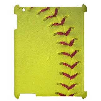 Dayglo Yellow Softball iPad Cases
