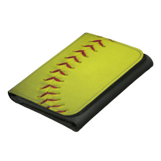Dayglo Yellow Softball Leather Tri-fold Wallet