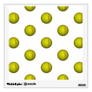 Dayglo Yellow Softball Pattern Wall Decal