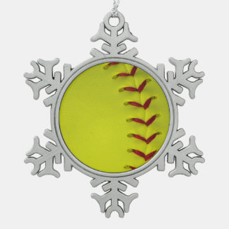 Dayglo Yellow Softball Snowflake Pewter Christmas Ornament