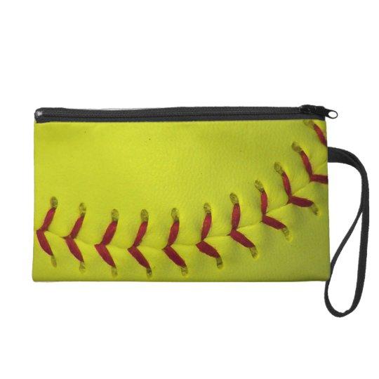 Dayglo Yellow Softball Wristlet