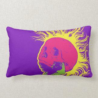 Dayglow Mohawk Skull Throw Pillow