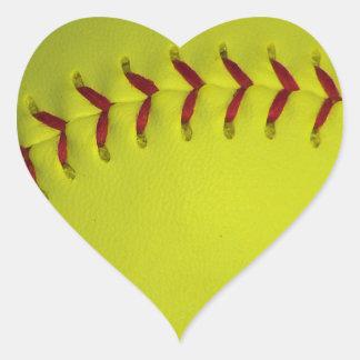 Dayglow Yellow Neon Softball Heart Sticker