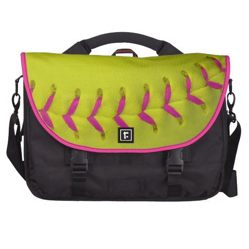 Dayglow Yellow w/Pink Stitches Baseball / Softball Laptop Computer Bag