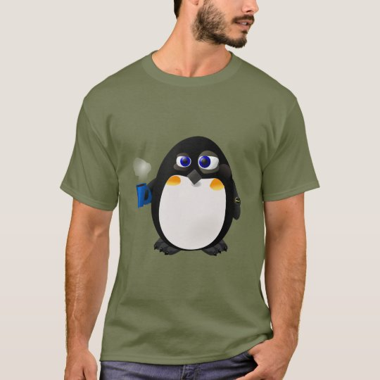 """Daylight Savings"" Morning Penguin With Coffee T-Shirt"