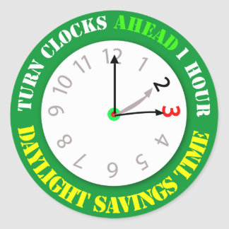 Daylight Savings Time Reminder Classic Round Sticker