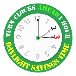 Daylight Savings Time Reminder Sticker