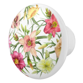 Daylilies All Over Ceramic Knob