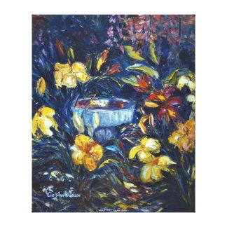 Daylilies and a Birdbath Canvas Print